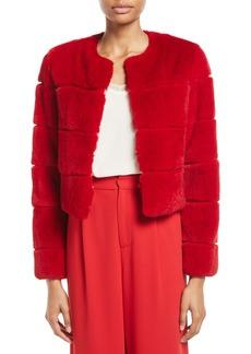 Alice + Olivia Theon Rabbit Fur Box Crop Coat