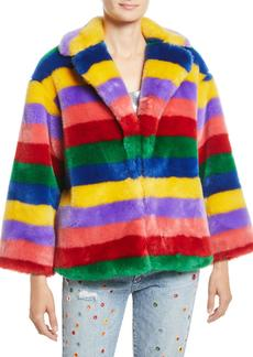 Alice + Olivia Thora Oversize Striped Faux-Fur Hook-Front Coat