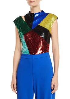 Alice + Olivia Tiana Embellished Cutout Crop Top