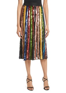 Alice + Olivia Tianna High-Waist Stripe Midi Skirt