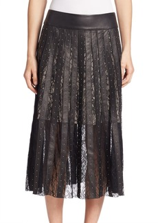 Alice + Olivia Tianna Lace Panel Leather Midi Skirt