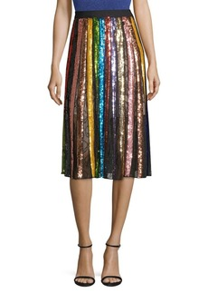 Alice + Olivia Tianna Striped Sequin Midi Skirt