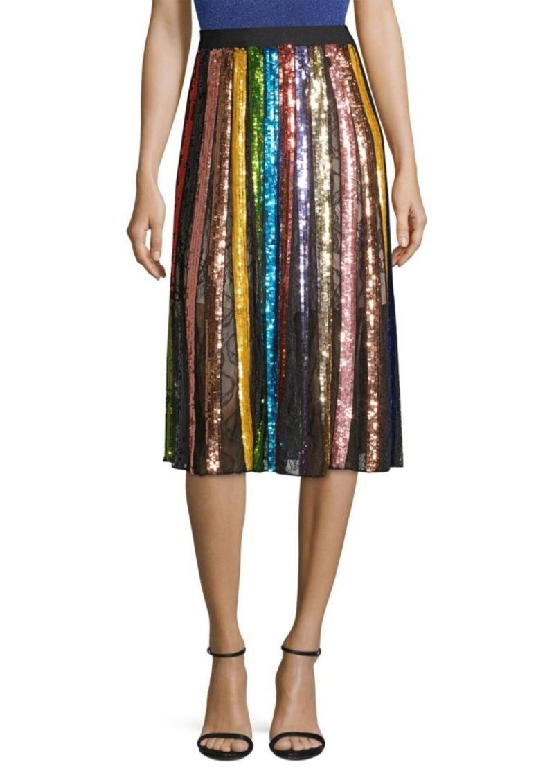 Alice + Olivia Tianna Striped Sequin Midi Skirt