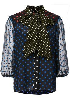 Alice + Olivia tie neck polka dot blouse
