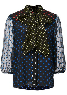 Alice + Olivia tie neck polka dot blouse