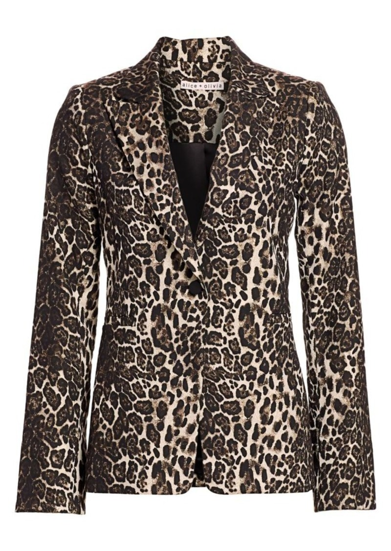 Alice + Olivia Toby Leopard Print Fitted Blazer