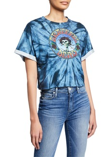 Alice + Olivia Tommy Grateful Dead Oversized Roll-Sleeve Crop Tee
