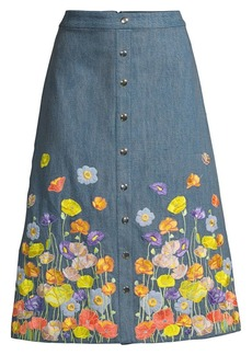 Alice + Olivia Townes Embroidered Snap-Front Midi Skirt