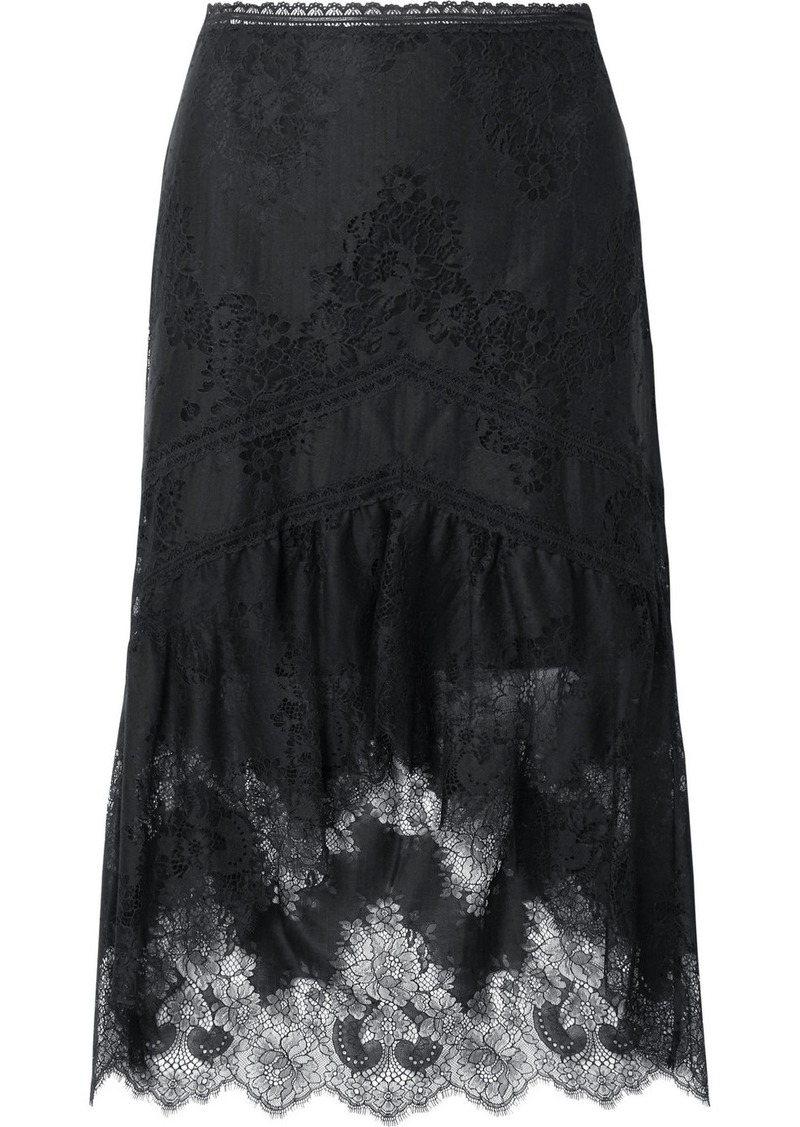 Alice + Olivia Triss Asymmetric Tulle And Lace Midi Skirt