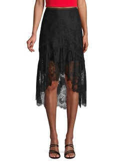 Alice + Olivia Triss Lace High-Low Skirt
