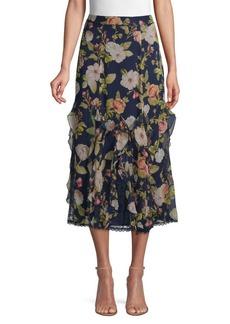Alice + Olivia Uma Floral & Lace Midi Skirt