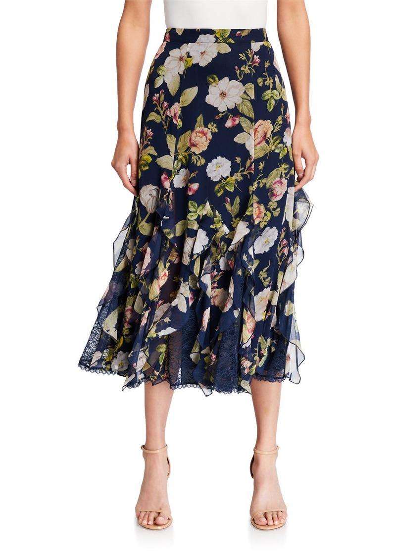 Alice + Olivia Uma Floral Silk Midi Skirt
