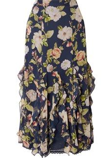 Alice + Olivia Uma Ruffled Lace-trimmed Silk-chiffon Maxi Skirt