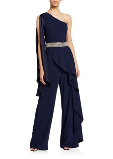 Alice + Olivia Venita One-Shoulder Draped Embellished Jumpsuit