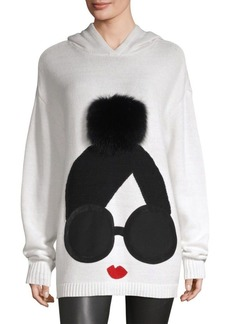 Alice + Olivia Vernie Wool-Blend Fur Pom Face Hoodie