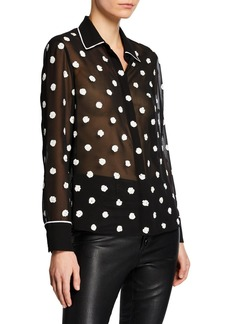 Alice + Olivia Vina Embellished Button-Down Sheer Top