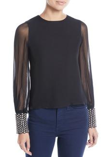 Alice + Olivia Vix Blouson-Sleeve Embellished-Cuff Top