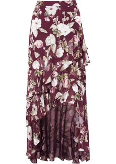 Alice + Olivia Walker Asymmetric Tiered Floral-print Fil Coupé Chiffon Maxi Skirt