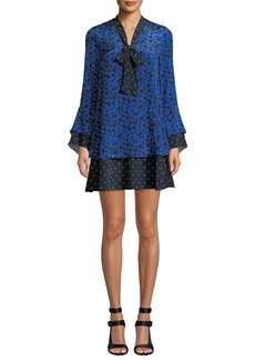 Alice + Olivia Wellesly Tie-Neck Trumpet-Sleeve Dress