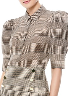 Alice + Olivia Will Prince Of Wales Check Puff-Sleeve Silk-Blend Blouse