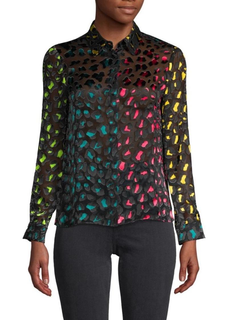 Alice + Olivia Willa Abstract Colorblock Shirt