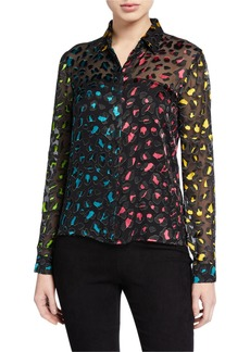 Alice + Olivia Willa Colorblock Animal-Print Button-Down Top