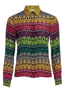 Alice + Olivia Willa Rainbow Leopard Print Blouse
