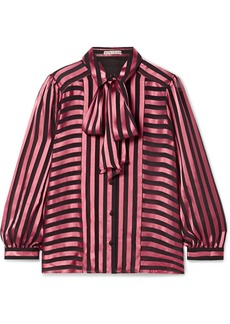 Alice + Olivia Willis Pussy-bow Striped Satin And Chiffon Blouse