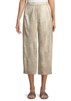 Alice + Olivia Elba Plisse Pull-On Cropped Wide-Leg Pants