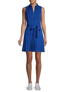 Alice + Olivia Yoko Zip Front Pleated Dress