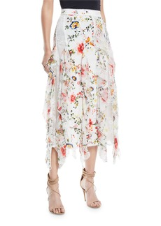 Alice + Olivia Yula Lace Godet Skirt with Floral-Print Ruffled Frills