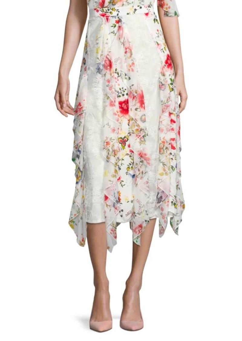 Alice + Olivia Yula Silk-Blend Midi Skirt