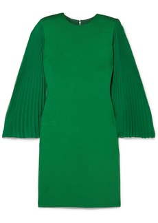 Alice + Olivia Zaya Plissé-georgette And Jersey Mini Dress