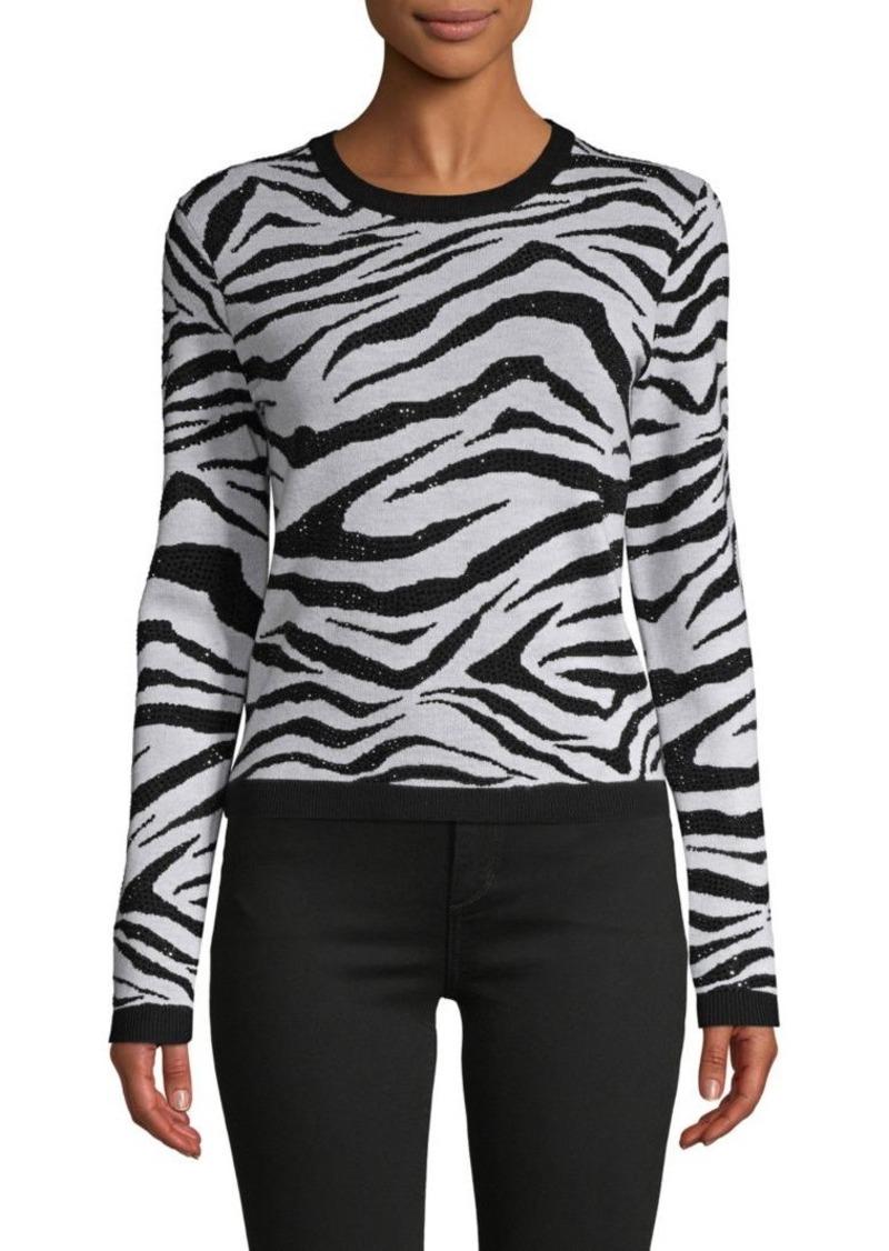 Alice + Olivia Zebra-Print Wool-Blend Sweater