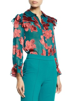 Alice + Olivia Ziggy Ruffle-Sleeve Blouse