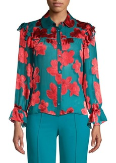 Alice + Olivia Ziggy Ruffled Floral Shirt