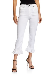Alice + Olivia Zoe Ruffled-Hem High-Rise Kick-Flare Ankle Jeans