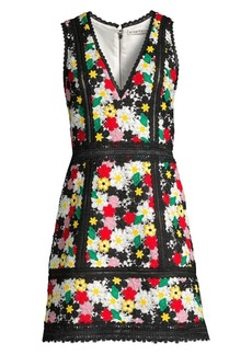 Alice + Olivia Zula Embroidered Floral A-Line Mini Dress