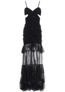 Alice Mccall Woman Cutout Ruched Embroidered Tulle Gown Black