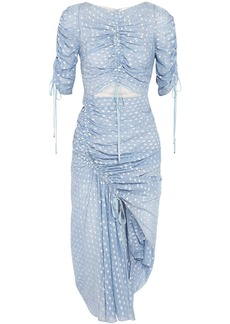 Alice Mccall Woman Feel It Coming Asymmetric Gathered Fil Coupé Georgette Midi Dress Sky Blue