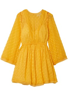 Alice Mccall Woman Gidget Lace-trimmed Fil Coupé Silk-blend Chiffon Mini Dress Marigold
