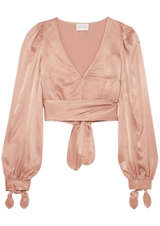 Alice Mccall Woman I Like That Cropped Satin Top Antique Rose