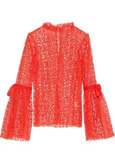 Alice Mccall Woman Just Lust Bow-detailed Lace Blouse Tomato Red