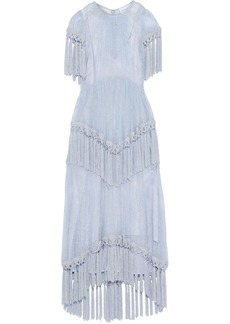 Alice Mccall Woman More Than A Woman Tassel-trimmed Chantilly Lace Maxi Dress Light Blue