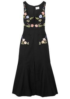 Alice Mccall Woman Rainbow City Embroidered Textured-cotton Midi Dress Black