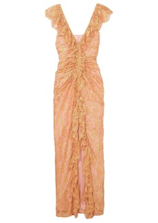 Alice Mccall Woman Ruffled Split-front Lace Gown Rose Gold