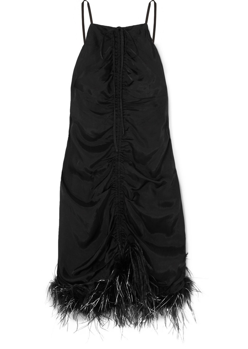 Alice McCall Favour Feather-trimmed Ruched Satin Mini Dress
