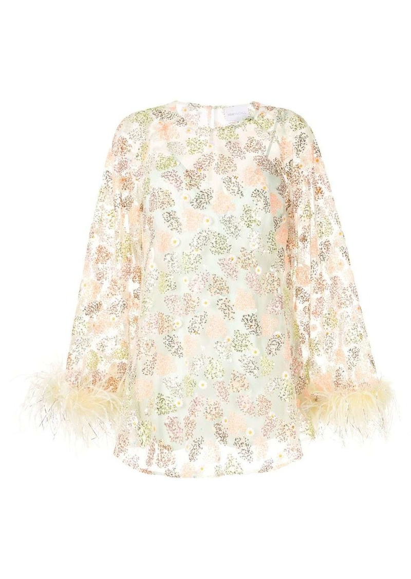 Alice McCall floral print feather trim dress