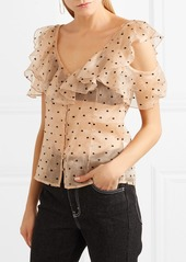 Alice McCall Loyal Lover cold-shoulder Swiss-dot silk-organza blouse