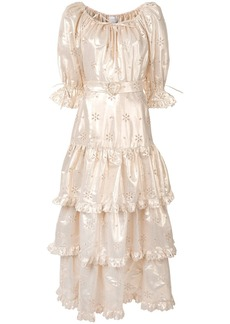 Alice McCall metallic flower embroidered gown